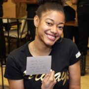 AGB Foundation Community Service team member writes note to homeless family