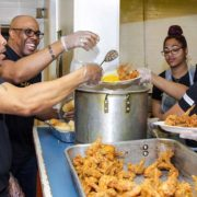 AGB Foundation Community Service team serves meals to the homeless