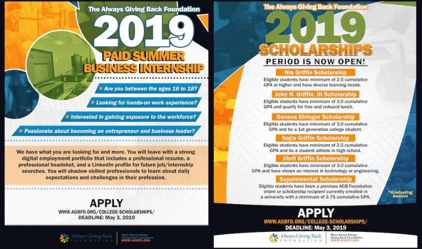 2019 postcard describing the AGB Foundation College Scholarships and Summer Business Internship programs